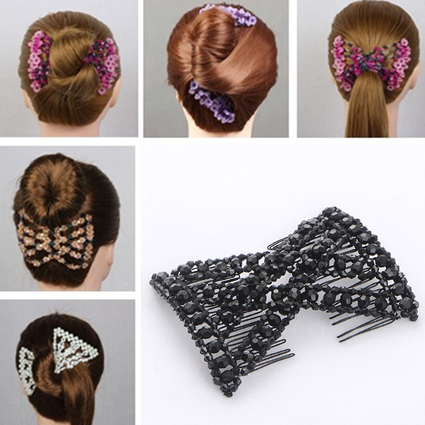 DIY Women Elastic Magic Hair Combs Vintage Hair Clip Claw Bun Maker Tools Hairstyle Fashion Pearl  Hairdo Accessories