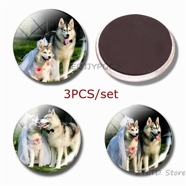 Siberian husky Fridge Magnet Couple dog refrigerator magnets 3PCS/set glass Cabochon cute wolf dog decoration sticker Home Decor
