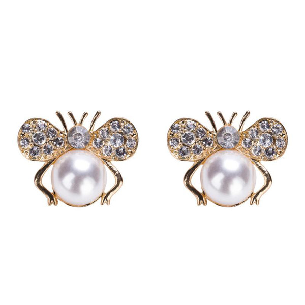 Cute Rhinestone Honey-bee Earrings Alloy Gold Plated Imitation Pearl Clip-on Earrings For Women 2019 Fashion Jewelry Accessories