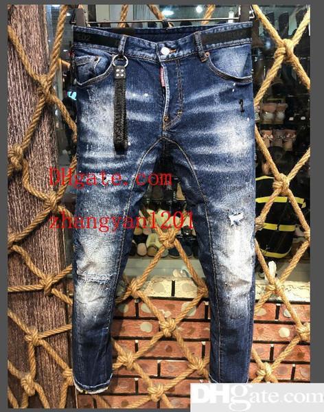 2019 Высокое качество, мода, новый стиль, бренд мужской джинсовой джинсовой вышивкой тигровые брюки отверстия D2 джинсы мужские молнии брюки брюки настоящее