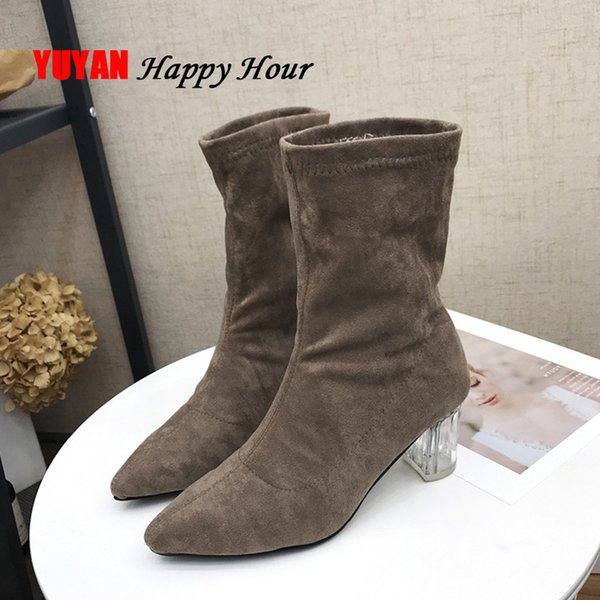 High Heels Boots Women Winter Shoes Womens Square Heel Booties Sexy Ladies Ankle Boots for Women Crystal Heel Shoes YX593