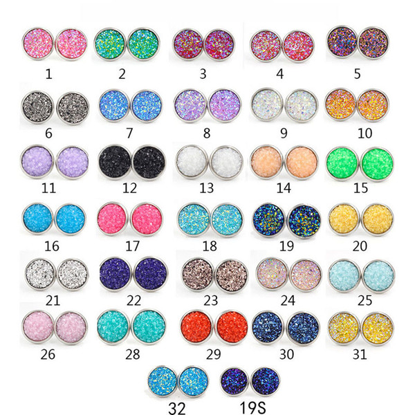 top popular Fashion 8mm 10mm 12mm Handmade Druzy Earrings Trendy Womens Simple Stainless Steel Tone Wholesaling Resin Stone Earring Free Shipping 2019