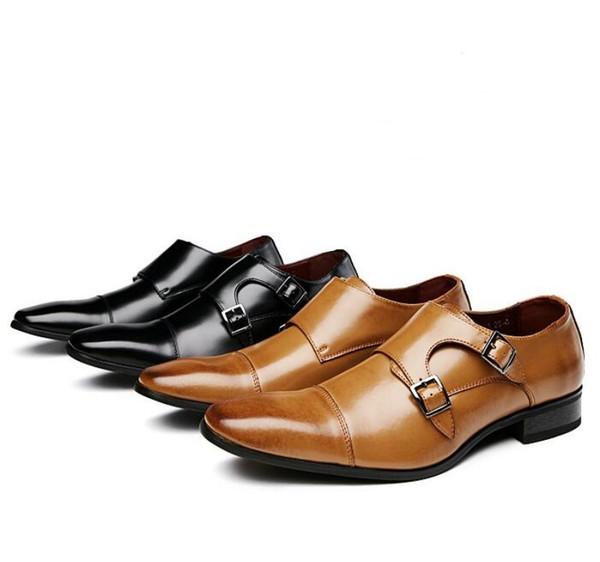 Высококачественные японские деловые кожаные туфли, мужская формальная обувь, повседневная модная обувь, три туфли Monkke Monkke свадебные туфли W64
