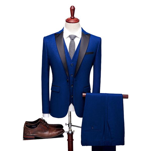 England Style Men dress 3 piece set Slim design mens suits Blazer jacket and pant and vest Waistcoat Asia size S - XXXXL