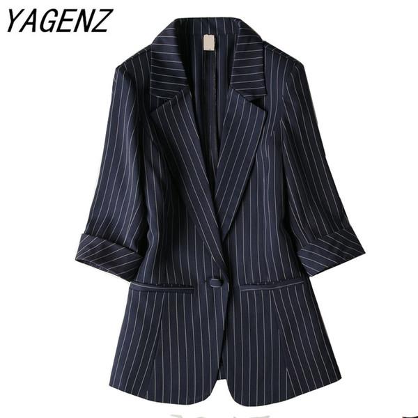 Moda dama chaqueta de traje a rayas delgado de siete puntos de manga hebilla individual Outwear de gran tamaño de oficina Blazer femenino Casual Tops 7XL
