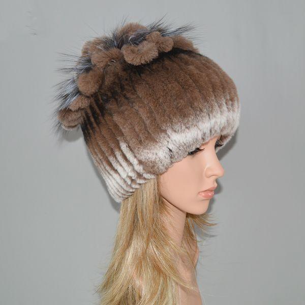 Women Knitted Genuine Rex Rabbit Hat Hot Winter Fur Beanies Cap Striped Head Top Flower Fox Fur Warm Real Fur Cap
