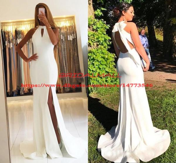 Sexy Backless White Satin Mermaid Prom Dresses 2019 Keyhole Neck Long Formal Party Gowns High Side Split Evening Dress Custom Robe de soirée