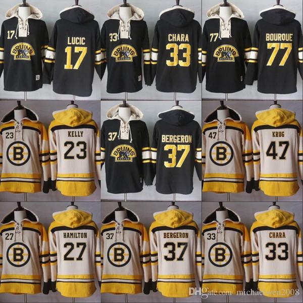 2018 Homens arte 77 Ray Bourque 17 Milão Lucic 33 Zdeno Chara 37 PatriceBergeron Boston Bruins arte Jerseys capuz