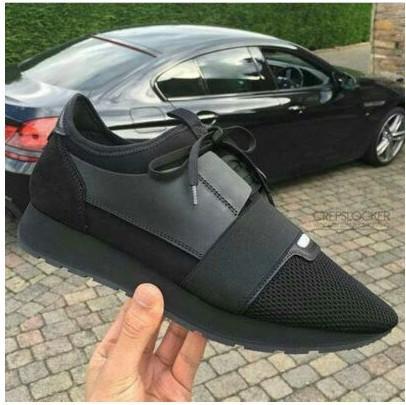 Nueva moda hombres mujeres cuero negro patchwork malla zapatos casuales zapatillas de deporte de moda, diseñador de marca clásico ocio zapatos planos35-46 envío de gotas