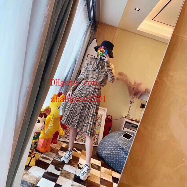 2019 summer dress women Tracksuit Plaid printed bow tie leading long-sleeved shirt+Plaid pleated skirt woman 2pcs suit women clothes BC-5