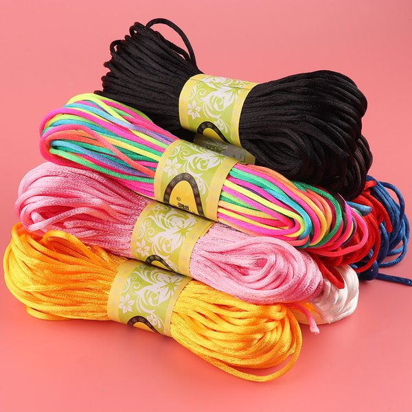 1 Roll 20m Chinese Knot Satin Nylon Braided Cord Rame Beading Rattail Thread Cords DIY Nice Gift Party Decoration