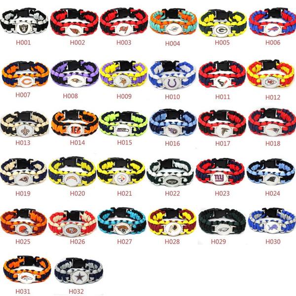 Hot new Fashion Footbal Team Charm Paracord Survival Bracelet Sport Friendship Outdoor Camping Bracelets Mix color WCW285
