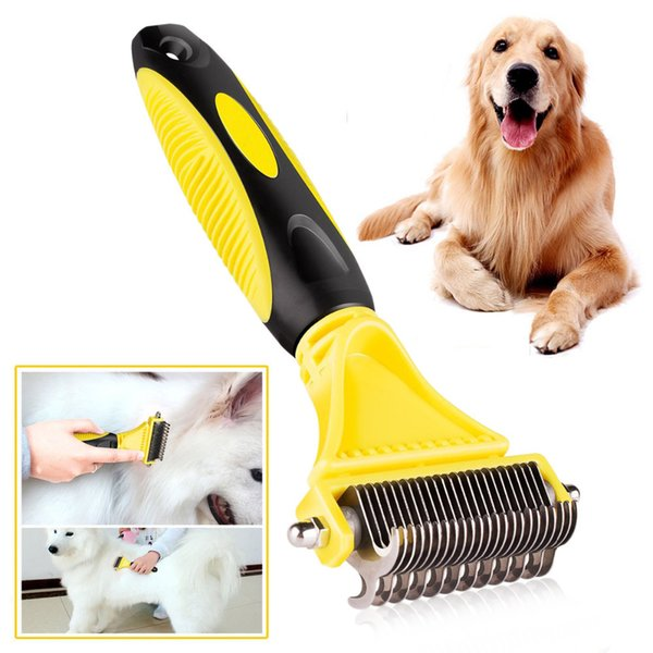 New Stainless Double-sided Pet Cat Dog Comb Brush Professional Large Dogs Open Knot Rake Knife Pet Grooming Products Btz1 Q190523