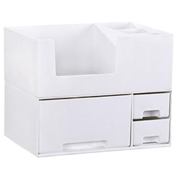 Cosmetic caixa de plástico Multifuncional Armazenamento desktop caixas de gaveta de maquiagem Organizadores Stationery Organizador White (Bas
