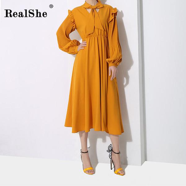 RealShe New Women Dress Bow Collar Lantern Sleeve Ruffies Mid-Calf Dress Female Spring Autumn Elegant Bandage Dresses Vestidos