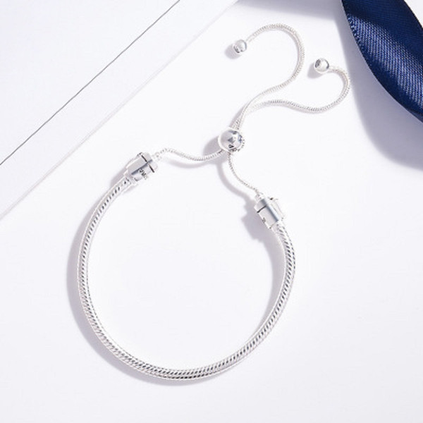 925 Посеребренной Марка Змея цепи браслет, пригодная для Pandora Basic Link браслетов Регулируемой Веревки браслетов ювелирных изделия без коробки