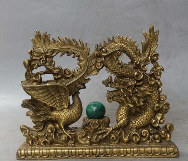 Statue de dragon à la main phénix Elaborate Chinese Brass Dragon Phoenix Sculpture mascotte décoration magasins d'usine en laiton