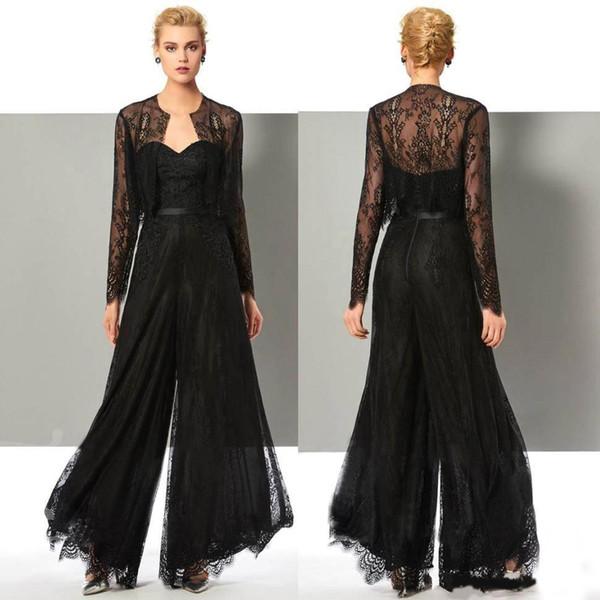 Gelin Pant Of Şık Siyah Dantel Jumpsuit Anne Ceket Plus Size Anneler Damat Elbise ile Wedding Guest kıyafete uygun