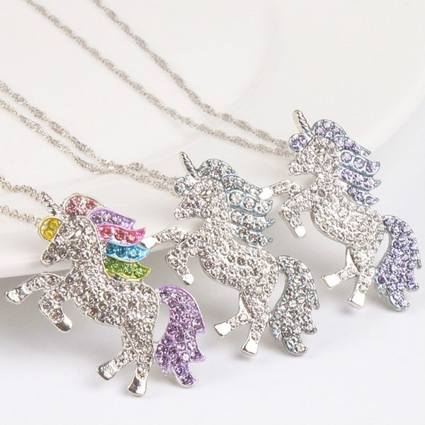 kids and women necklace colorful unicorn diamond pendant necklace children sweater chain jewellery accessories free shipping dc287