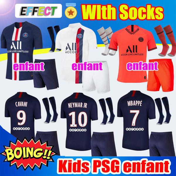 Nouveau 2019 AIR JORDAN PSG Enfants Kit Maillots De Football 2020 Ensembles Complets Avec Chaussettes MBAPPE NEYMAR JR 19 20 Paris Saint Germain Maillots De Foot Kits Kids