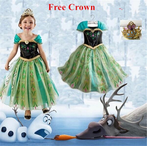 Compre 2016 Vestido De Princesa Anna Traje De Las Niñas Para Niños Fiesta Disfraces Princesa Vestido Ana De Festa Carnaval Fantasia Infantil Meninas