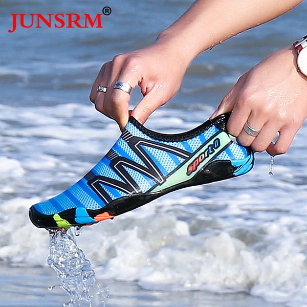 Verano hombre mujer zapatos de agua playa surf al aire libre acuario calcetines de cuero zapatos de rayas pareja ligera