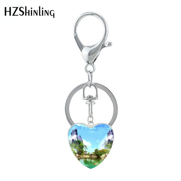 2019 New The Most Beautiful CN Scenes Keychain Glass Heart Shaped Amazing Sea River View Jewelry