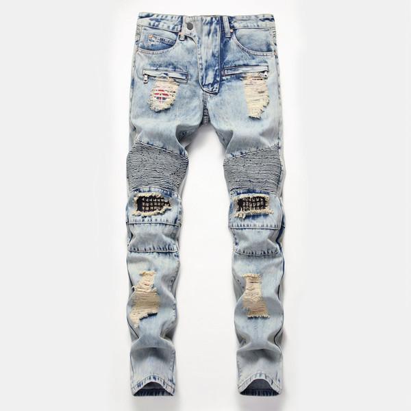 2019 personalidade dos homens de jeans afligido buraco do joelho rebites design locomotiva bicicleta calças de jogging designer de moda calças de rua zíper Fino