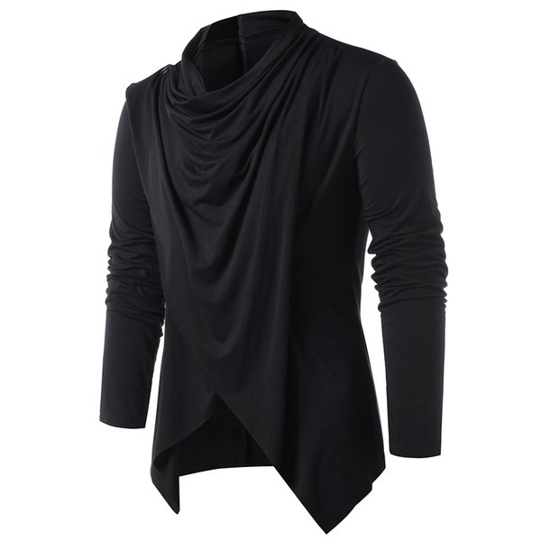 Hemkis Fashion Men asimmetrico Overlap Cardigan Casual maglia maniche lunghe maglioni collo a scialle aperto davanti Top Maglioni da uomo