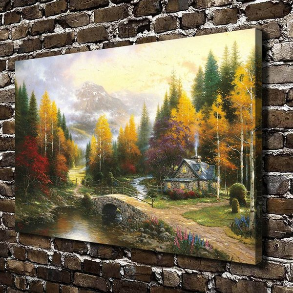 Thomas Kinkade The Valley Of Peace,Canvas Prints Wall Art Oil Painting Home Decor(Unframed/Framed)