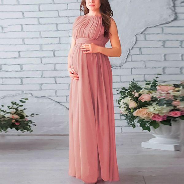 bieten viel neues Design echt kaufen Großhandel Elegantes Schwangerschaftskleid Ärmelloses Gefaltetes Rosa  Mutterschaft Kleider Für Fotoshooting Hochzeitsgesellschaft Langes Kleid  Für ...