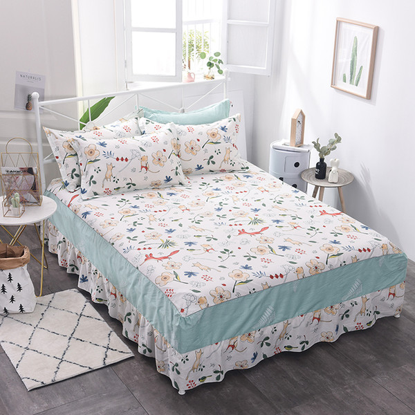 Lovely white flower petbedspread bedclothes, fashion Cotton bed skirt, single princess, bed sheet, bed skirt 1.5/1.8/2.0m meter