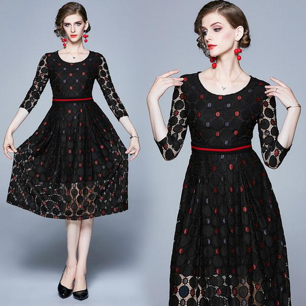 Womens dress temperament Slim T-shirt three-point sleeves lace long paragraph large dress black cool