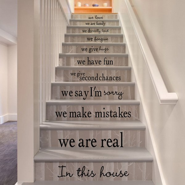 English motto house rules Stairs wall Sticker Graphic Unique Mural Cosplay Gifts for living room home decoration Pvc Decal paper WN654