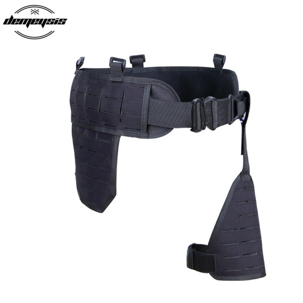 Tactical MOLLE Waist Belt Mens Airsoft Combat Belt with Leg Holster Platform Adjustable Hunting Waist Support Army Military #262122