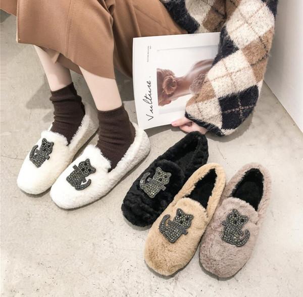 BJYL Net chaussures de haricot rouge femelle 2018 hiver nouvelle fourrure chaussures paresseux strass étudiants occasionnels ainsi que des mocassins de velours