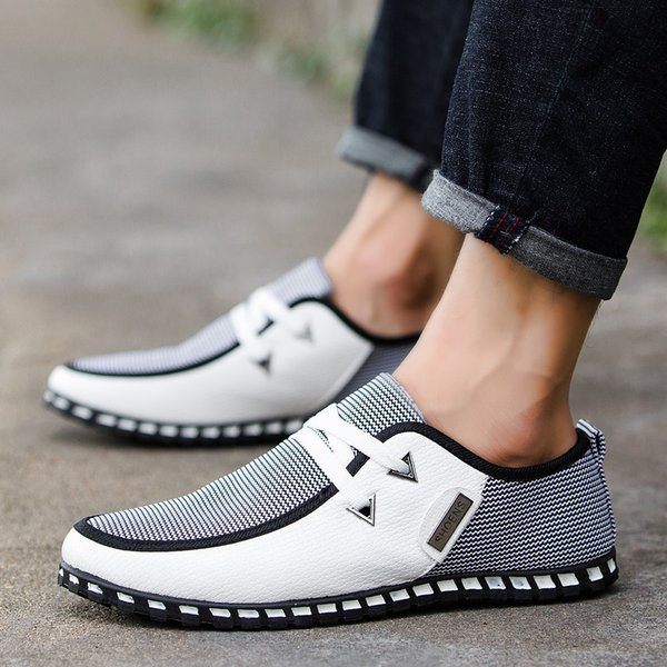 Dropshipping New Men Shoes England Trend Casual Shoes Leather Breathable canvas Male Footear Loafers Men's Flats