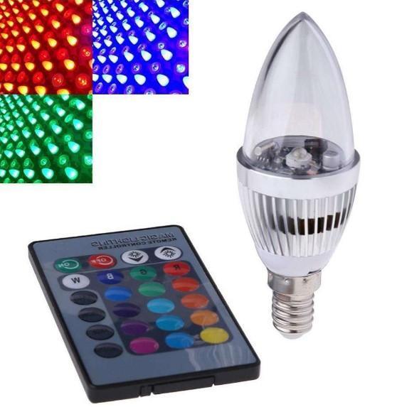 E14 E12 E27 3W RGB LED Birne 16 Farbwechsel Kerzenlicht AC85-265V Fernbedienung Kerzenlampe LLFA
