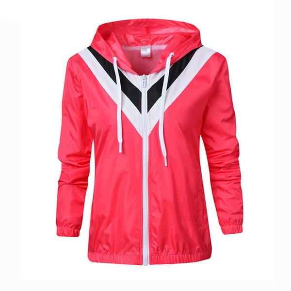 top popular Fashion Women Jackets Windbreaker Patchwork Zipper Hoodies Sports Coat Thin Outerwear Letter Print M-2XL 2020