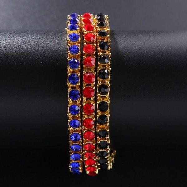Iced Out Gold Chain Bracelet For Mens Fashion Hip Hop Diamond Tennis Bracelets Jewelry Single Row Black Rhinestone Bracelet