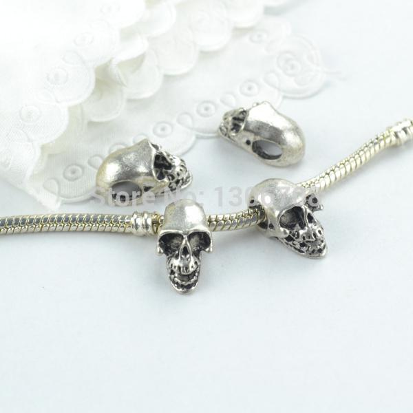 big hole 50pcs Metal tibetan silver charms big hole 3D skull beads fit for europe bracelet jewelry making z42663