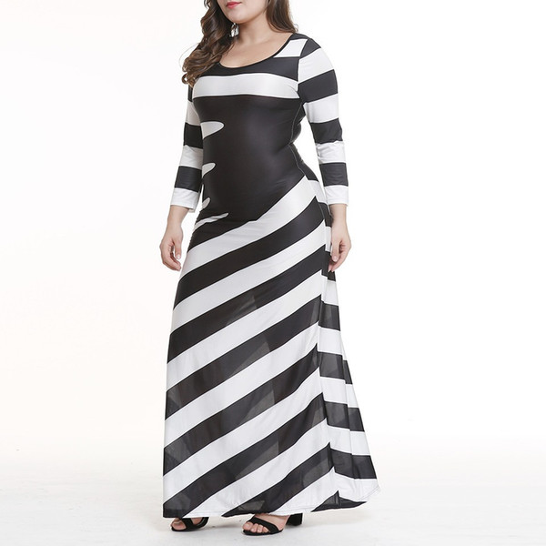Amazon Cross-border Large Size Women's Dress 2019 New European and American Long Sleeve Black-and-White Stripe Long Skirt with Hip and Big S
