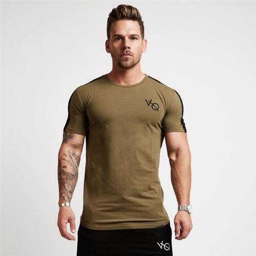 Yaz Spor Gömlek Erkekler Sıkıştırma Gömlek Spor Tayt Hızlı Kuru Kısa Kollu t gömlek Erkekler Tee Pamuk O Boyun Spor T-Shirt Tops