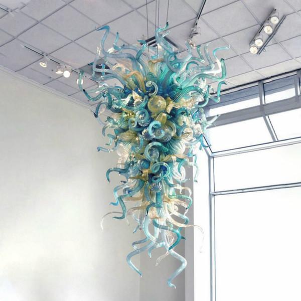 Mão atacado Blown vidro Murano lustre moderno Hanging Teardrop Pingentes iluminação verde Sombra LED candelabro de cristal Lamp