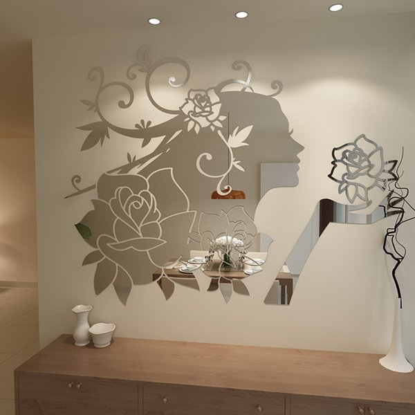New arrival Flower Fairy Acrylic mirror Wall stickers 3D cartoon wall stickers Bedroom living room DIY art wall decor