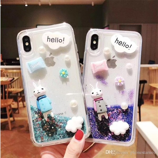 Cute Dynamic Cartoon Bling Quicksand Liquid Flowing Glitter Star TPU Rabbit Phone Case Cover Shell For iPhone 6 7 8 Plus X XS XR XS Max