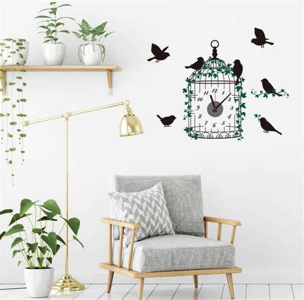 Птичья клетка настенные часы Silent настенные часы детская гостиная спальня подвесные часы украшения дома настенные часы A2177c