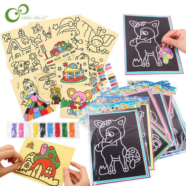 top popular 20Pcs set 10Pcs set Magic Scratch Art Doodle Pad Sand Draw Painting Cards Early Educational Learning Creative education toy for Children 2021