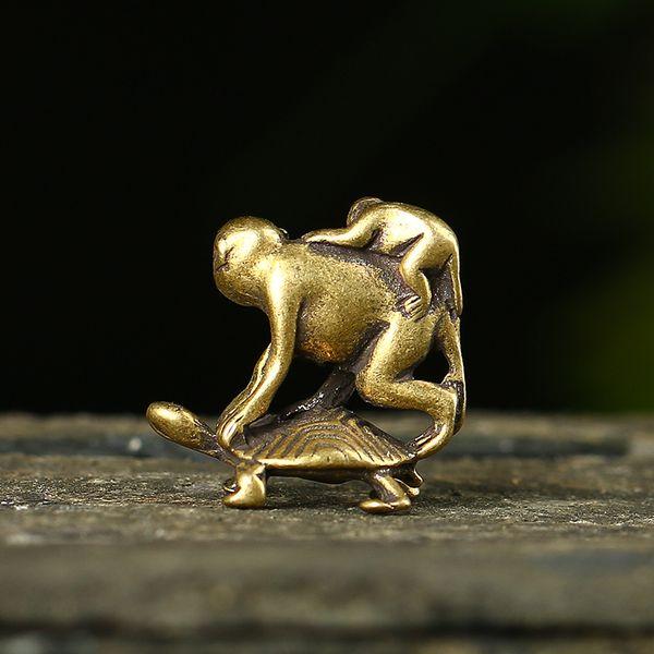 Chinese Pure brass Turtle back monkey small statue
