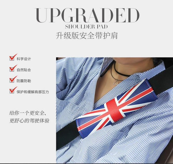 1PC Universal Safety Car Seat Belt Shoulder Pad Cover Car Seat Belt Cushion England Flag Car Styling Accessories, High Quality